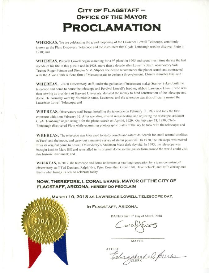 Pluto proclamation